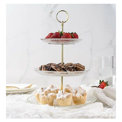 Fisher Home Products 3-Tiered Serving Stand (Glass) Beautiful, Elegant...