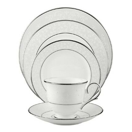Lenox Opal Innocence Platinum-Banded Bone China 5-Piece Place Setting,...