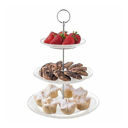 Royalty Art 3-Tiered Serving Stand (Glass) Beautiful, Elegant Dishware Serve Snacks, Appetizers, Cakes, Candies Durable, Reusable Party or Holiday Hosting (SILVER)
