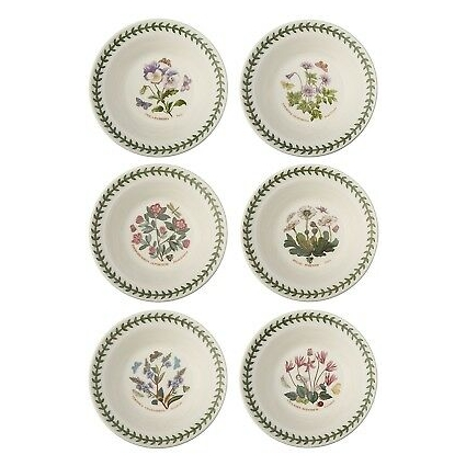 Portmeirion Botanic Garden Oatmeal/Soup Bowls, Set of 6 Assorted Motifs