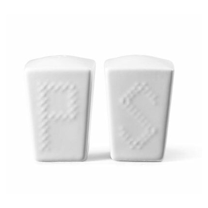 ROSCHER Basketweave Salt and Pepper Shakers (2-Piece Set) Classic White...