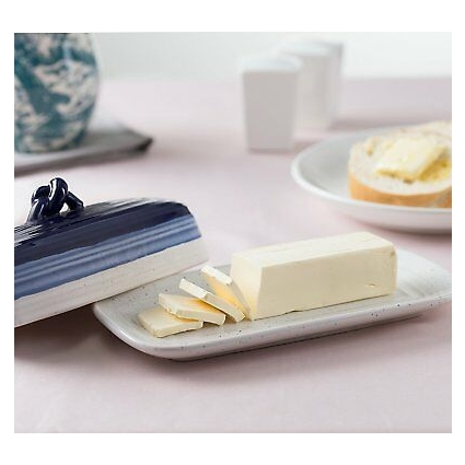 ROSCHER Ceramic Butter Dish (Avalon Blue) 2-Piece Cover and Plate