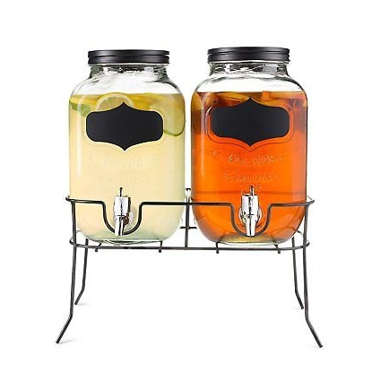 Dual Mason Jar Drink Dispensers with Metal Stand (4-Liters Each) Leakproof,...