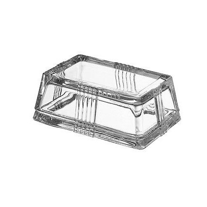 Fisher Glass Butter Dish (Rectangular) Traditional 2-Piece Heavy-Duty Cover |...