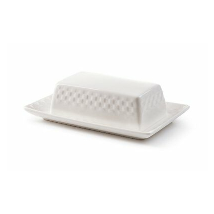 ROSCHER Basketweave Butter Dish (White Porcelain) Textured Surface, 2-Piece...