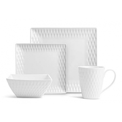 32 Pc. Square Diamand Porcelain Dishes Set – White Dinner Plates, Bowls, Coffee Cups