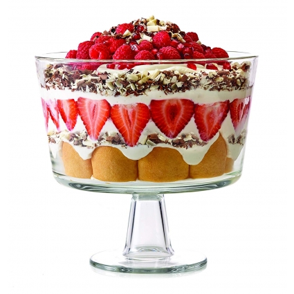 Royalty Art Trifle Bowl with Pedestal, Round Dessert Display Stand for Laying Cakes, Pastries or Baked Goods, Modern Design with Crystal-Clear Borosilicate Glass, X Quart