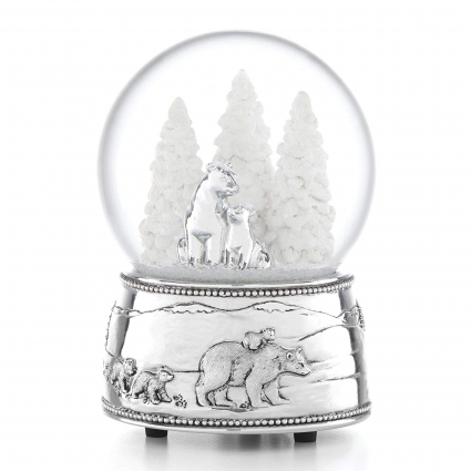 North Pole Bound™ Polar Bear & Cubs Musical Snowglobe