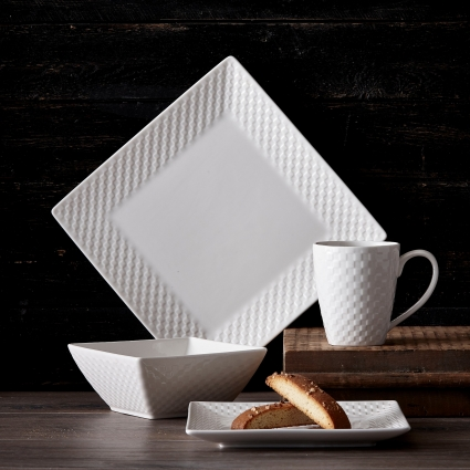 32 Pc. Square Basketweave Porcelain Dishes Set – White Dinner Plates, Bowls, Coffee Cups