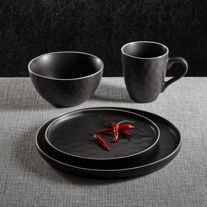 La Rochelle 16 Piece Dish Set with Salad and Dinner Plates, Coffee Cups and Soup Bowls, Crafted with Mercerie Reactive, Elegant Black
