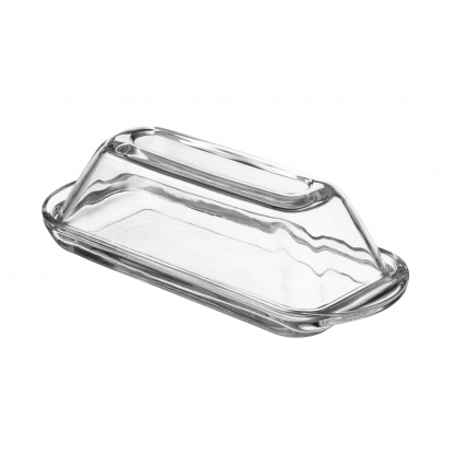 Fisher Modern Glass Butter Dish (Oval) Smooth Crystal Cover, Elegant Home and...