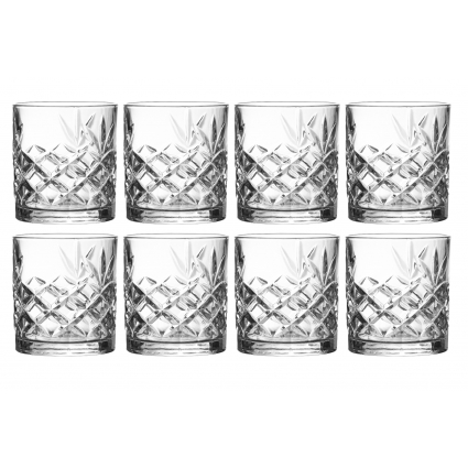 Royalty Art Clovelly Lowball Whiskey Glasses, 8 Pc. Set, 10.6 ounce Short Drinking Glassware for Liquor, Bourbon, Rye, or Beer,, Dishwasher Safe