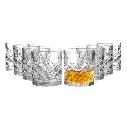 Clovelly Lowball Whiskey Glasses, 8 Pc. Set, 10.6 ounce Short Drinking Glassware for Liquor, Bourbon, Rye, or Beer, Elegant Drinkware for Men or Women, Dishwasher Safe