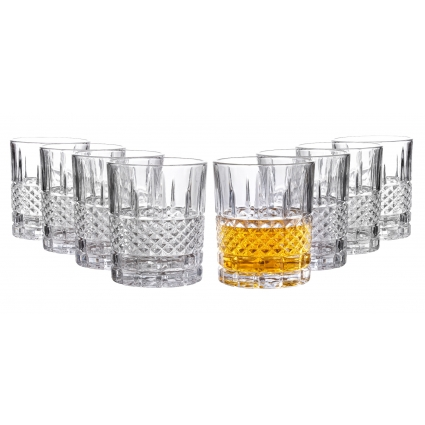 Royalty Art Castlecombe Lowball Whiskey Glasses, 8 Pc. Set, 10.6 ounce Short Drinking Glassware for Liquor, Bourbon, Rye, or Beer, Elegant Drinkware for Men or Women, Dishwasher Safe