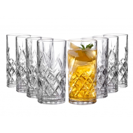 Royalty Art Clovelly Tall Highball Glasses Set of 8, 12 Ounce Cups, Textured Designer Glassware for Drinking Water, Beer,  Dishwasher Safe