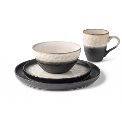 La Rochelle 16 Piece Dish Set with Salad and Dinner Plates, Coffee Cups and Soup Bowls, Crafted with Mercerie Reactive, Elegant (Midnigh)