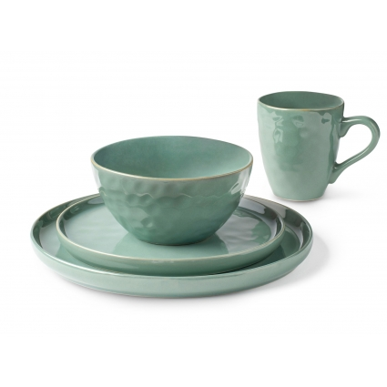 La Rochelle 16 Piece Dish Set with Salad and Dinner Plates, Coffee Cups and Soup Bowls, Crafted with Mercerie Reactive, Elegant Green
