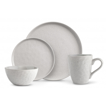 La Rochelle 16 Piece Dish Set with Salad and Dinner Plates, Coffee Cups and Soup Bowls, Crafted with Mercerie Reactive, Elegant Grey