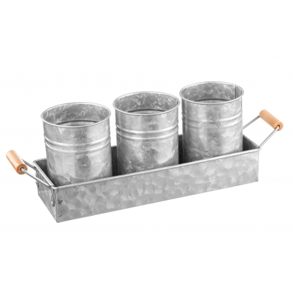 Royalty Art Galvanized Planter Buckets and Rectangular Pot Base for Succulents, Herbs, and Small Plants, Vintage Farmhouse Galvanized Steel, Wooden Carry Handles