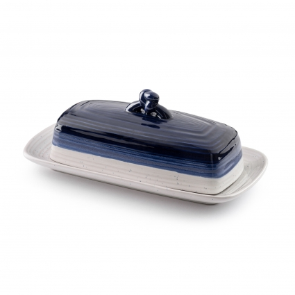Ceramic Butter Dish w Handle Cover and Plate 2-Piece Combo Dark, Contemporary Kitchen Décor Decorative, Modern Design for Kitchen, Dining Room (Reiko Blue Avalon)