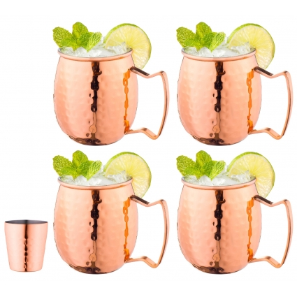 Moscow Mule Copper Mugs with Handles (4-Pack) 1 Shot Glass Classic Drinking Cup Set Home, Kitchen, Bar Drinkware Helps Keep Drinks Colder, Longer Food-Grade Safe Lining with 1 Shot Glass (16 oz)