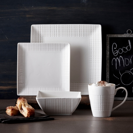 32 Pc. Square Mesh Porcelain Dishes Set – White Dinner Plates, Bowls, Coffee Cups …